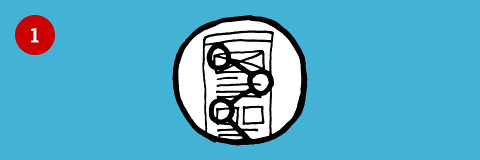 Illustration mit Website und Leseverhalten